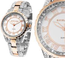 Damen Armbanduhr Silber/Rosegold Bicolor Crystal Metallarmband Excellanc 180/039