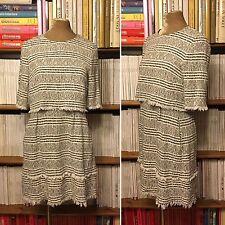 ZARA Donna Fantasy Tweed Vestito L Uk 12-14 Illusion Crema Blu Scuro Con Frange