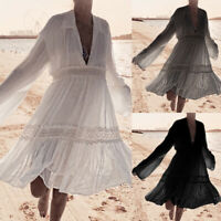 Plus Size Women Lace Loose Tunic Shirt Top Lady Summer Beach Cover Up Mini Dress