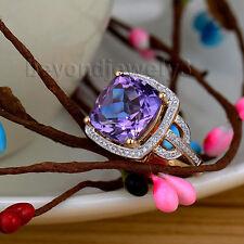 Solid 14Kt Yellow Gold 7.85Ct Diamond Purple Amethyst Engagement Gemstone Ring