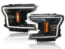 Set of Black Projector Headlights w/ LED Bar for 2018-2020 Ford F-150 XL / XLT