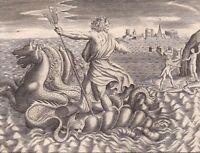 Gravure XVIIIe Neptune Poséidon Apollon Laomédon Ravage Troie Monstre Marin