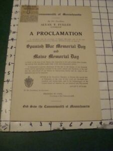 Original PAPER -- A PROCLAMATION - SPANISH WAR MEMORIAL DAY comm of Mass 1920s