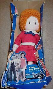 "Little Orphan Annie Knickerbocker Vintage Collectible 1980s Rag Doll 16"" EUC"