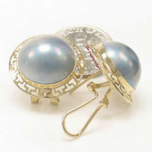 14k Yellow Solid Gold Omega Clip; Australia Blue Mabe Pearl Earrings TPJ
