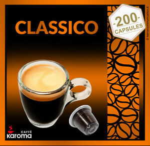 200 Karoma Capsules Compatible Nespresso Machines! Strong Blend! Classico
