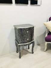 Blackened Silver Embossed 2 Drawer Bedside Table Cabinet