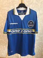 FC Everton 1997/1998/1999 Home Sz L Umbro shirt jersey maillot football soccer