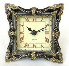 NEW BROWN+GOLD BRASS+ORANGE CRYSTAL VINTAGE FLORAL ROMAN NUMERAL CLOCK+BOX 1815