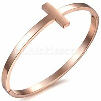 Stainless Steel Silver/Rose Gold Tone Sideways Cross Cuff Bangle Bracelet Gift