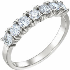 7 Stone Diamond Wedding Ring Anniversary Band 1.06 carat total F color Vs