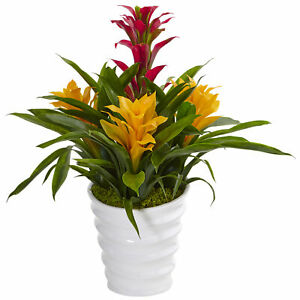 Bromeliad In White Swirl Vase Artificial Plant Nearly Natural Home Centerpiece