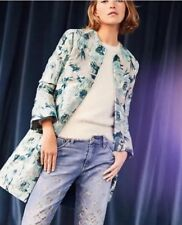 Anthropologie Ornate Blue Floral Jacquard Jacket/Coat/Topper Size 4 Boho $178
