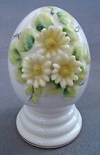 Vintage Diamantine Fine China 3D Floral Sculpted Yellow Flowers Daisies Egg