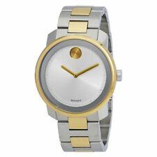 Movado Men's Two Tone Steel Watch - Bold Silver Dial Swiss   3600431