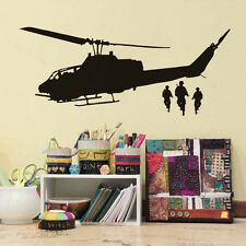 Army Helicopter Art Wall Decal Airplane Vinyl Wall Sticker For Bedroom