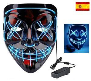 Máscara la Purga luz led careta Discoteca noche disfraz Halloween fiestas Azul
