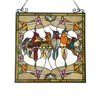 "24"" W x 25"" H Stained Glass Window Panel Birds Floral Tiffany Style"