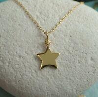 Sterling Silver Gold Vermeil Star Pendant Necklace - UK Seller