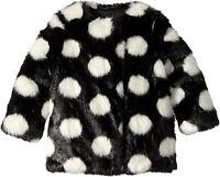 Kate Spade New York Girl's Polka Dot Faux Fur Coat, Size 8, Black