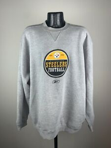 Men's Vintage Reebok Pittsburgh Steelers Gray Crew Football Sweatshirt XL NWOT