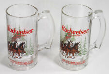 Budweiser Clydesdale Horses Christmas holiday clear glass beer mug stein