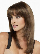 100% Echthaar Damen Perücken Natural Hellbraun Glatt Mittel Haar-Perücken NEU