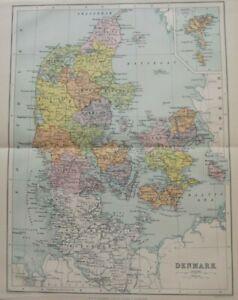 Vintage Map: Denmark by John Bartholomew, Chambers's Encyclopedia, 1935, Colour