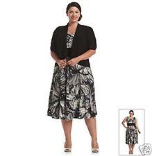 Womens R&M Richards Empire Waist Dress with Jacket Navy/Ivory  Size 22W NWT