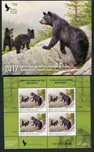 QUEBEC #30M 2017 BLACK BEAR CONSERVATION MINI SHEET OF 4 IN FOLDER
