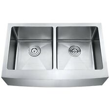 """33"""" Hand Made Apron Front Kitchen Sink Stainless Steel Double Bowl Farmhouse"""