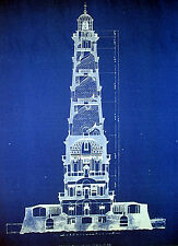 "Vintage Lighthouse Ships Beacon Blueprint Plan 13""x17""  (200)"