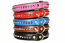 STUDDED Handmade STRONG Real LEATHER BLACK PADDED LARGE BREEDS BIG DOG COLLAR