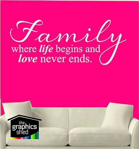 family where life begins and love never ends Wall Art,Sticker Mural,decal,Vinyl