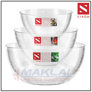 3x Salad Serving Bowls Dimple Plastic Clear Strong Stylish Hard High Quality