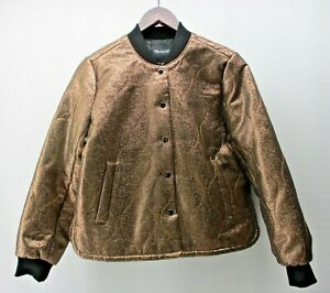 MADEWELL WOMEN'S  SMALL  JACKET  METALLIC QUILTED SNAP FRONT BOMBER STYLE