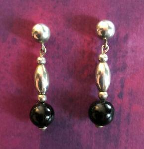 "Sterling Silver Earrings Black Onyx Bead Ball Southwest 1.1"" 3.4g 925 #1586"