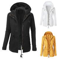 Women's Hoodie Sweatshirt Zip Up Plain Jacket Outdoor Jumper Winter Hooded Coat