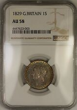 1829 Great Britain George IV Silver Shilling 1S Coin NGC AU-58