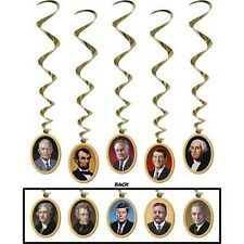 Presidents Hanging Decor Reagan Twirley Metallic Foil Lincoln Washington Kennedy