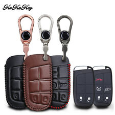 Leather Remote Key FOB Case Cover For Jeep Grand Chrysler 300 Dodge 5 Button