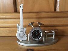 Drum Set Clock W/Guitar