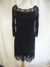 Ladies Dress Ralph Lauren Size M Black Cotton Lace & Slip but Seconds 2239