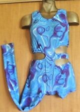 SHADES OF BLUE/LYCRA/CATSUIT/28/32 INCH CHEST/FREESTYLE COSTUME