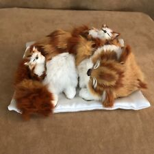 "Realistic Cat 9"" with kittens sleeping on pillow fur companion animal orange tab"