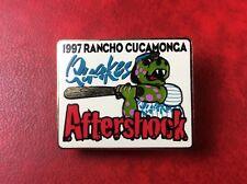 Pin Button Badge 1997 Rancho Cucamonga QUAKES BASEBALL AFTERSHOCK. Vintage.