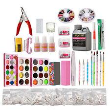 Acrylic France Tips Nail Art Kit UV Gel Glue Nail Forms Nail File Powder Set