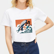 T-Shirt Japanese Ukiyoe Women Ladies Shirts Tops Blouse White Loose Summer Tee