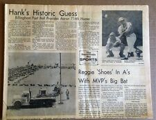 HANK AARON TIES BABE RUTH 714 HOME RUNS APRIL 5,1974 FULL SPORTS SECTION