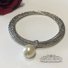 Womens Bracelet Silver Patterned 10 Linked Bangles Pearl 24cm Preloved AU